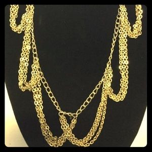 Vtg Goldtone Multi Strand Festoon style necklace